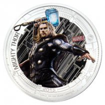 2015 Niue Marvel Avengers: Age of Ultron - Thor 1 oz Silver Colorized Proof $2 GEM Proof