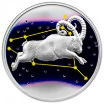 2015 Tokelau Creatures of Myth and Legend - Aries 1 oz Silver Colorized Proof $5 GEM Proof Original Mint Capsule