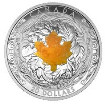 2016 Canada Majestic Maple Leaves - Drusy Stone 1 oz Silver Proof $20 Coin GEM Proof (OGP)
