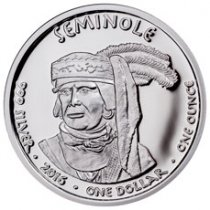 2016 Native American Silver Dollar - Florida Seminole - Alligator 1 oz Silver Proof Coin GEM Proof Original Mint Capsule
