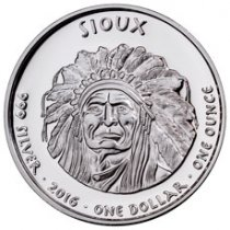 2016 Native American Silver Dollar - South Dakota Sioux - Buffalo 1 oz Silver Proof Coin GEM Proof Original Mint Capsule