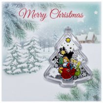 2016 Niue Merry Christmas - Christmas Tree 1 oz Silver Colorized Proof $2 Coin OGP