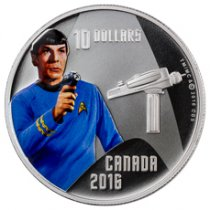 2016 Canada Star Trek - Spock 1/2 oz Silver Colorized Proof $10 GEM Proof