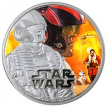 2016 Niue Star Wars: The Force Awakens - Poe 1 oz Silver Colorized Proof $2 GEM Proof