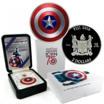 2016 Fiji Marvel Captain America Shield 2 oz Silver Colorized Proof $2 Coin GEM Proof (OGP)