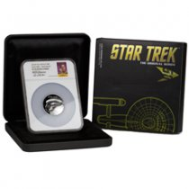 2016-P Tuvalu Star Trek - USS Enterprise High Relief 5 oz Silver Proof $8 NGC PF70 UC ER (William Shatner Signed Label)