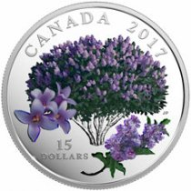 2017 Canada Celebration of Spring - Lilac Blossoms 3/4 oz Silver Colorized Proof $15 Coin GEM Proof (OGP)