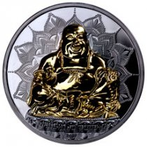 2017 Palau Laughing Buddha 2 oz Silver Gilt Proof $10 Coin GEM Proof OGP