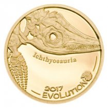 2017 Mongolia Evolution of Life - Ichthyosaur Gold Proof 1,000 Coin GEM Proof Capsule with COA