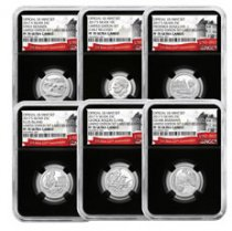 6-Coin Set - 2017-S U.S. Limited Edition Silver Proof Coins Set NGC PF70 ER Black Core Holder Exclusive U.S. Mint 225th Anniversary Label