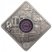 2017 Palau Sacred Art - Notre Dame Cathedral Ultra High Relief Square 50 g Silver Antiqued $10 Coin With Miniature Stained Glass Insert GEM OGP