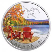 2017 Canada Iconic Canada - Autumn's Palette 1/2 oz Silver Colorized Matte Proof $10 Coin GEM Proof