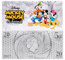 2017 Niue Disney - Mickey and Friends Foil Note Silver 20c GEM BU OGP