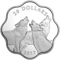 2017 Canada Master of the Land - Timber Wolf Scalloped Silver Proof $20 Coin GEM Proof OGP