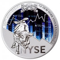 2017 Republic of Cameroon 200th Anniversary of NY Stock Exchange 8 oz Silver Colorized Glow in the Dark Proof Fr10,000 Coin GEM Proof OGP