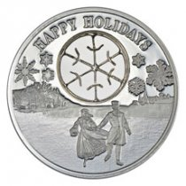 2017 Niue Happy Holidays - Ice Skaters 1 oz Silver Proof $2 Coin GEM Proof OGP