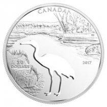 2017 Canada Endangered Animal Cutout - Whooping Crane Silver Proof $30 Coin GEM Proof OGP