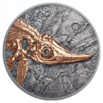 2017 Mongolia Evolution of Life - Ichthyosaur High Relief 1 oz Silver Antiqued Coin GEM BU OGP