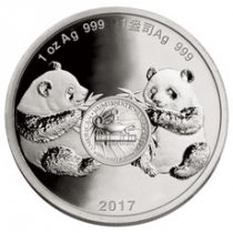 2017 China Denver ANA World's Fair of Money Show Panda 1 oz Silver Proof Medal GEM Proof Original Mint Capsule
