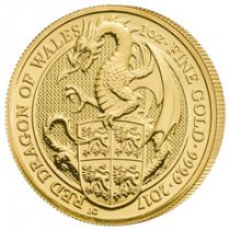 2017 Great Britain 1 oz Gold Queen's Beasts - Red Dragon Wales £100 Coin GEM BU