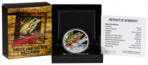 2017 Tuvalu Endangered and Extinct - Green and Golden Bell Frog 1 oz Silver Colorized Proof $1 Coin GEM Proof (OGP)