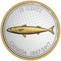 2017 Canada Big Coin Series - Alex Colville Designs - Mackerel 5 oz Silver Gilt Proof 10c Coin GEM Proof (OGP)