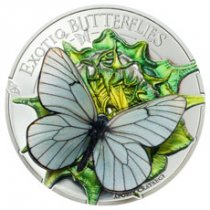 2017 Mongolia Exotic Butterflies in 3D - Aporia Cartaegi Silver Colorized Proof Coin GEM Proof (OGP)