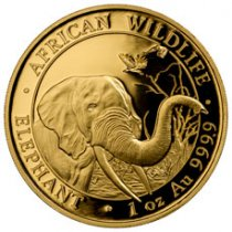 2018 Somalia 1 oz Gold Elephant Sh1,000 Coin GEM BU