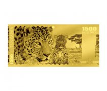 2018 Tanzania Big 5 - Leopard Foil Note Gold Prooflike Sh1,500 Coin GEM Prooflike