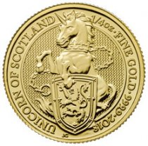 2018 Great Britain 1/4 oz Gold Queen's Beasts - The Unicorn of Scotland £25 Coin GEM BU
