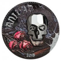 2018 Equatorial Guinea Crystal Skull - Vanity 1 oz Silver Colorized Proof Fr.1,000 Coin with Swarovski Crystal Skull GEM Proof OGP