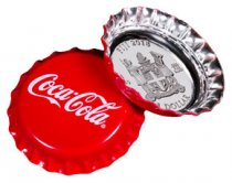 2018 Fiji Coca-Cola Bottle Cap-Shaped 6 g Silver Colorized Proof $1 Coin GEM Proof OGP