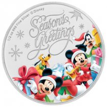 2018 Niue Disney Season's Greetings 1/2 oz Silver Colorized Proof $1 Coin GEM Proof OGP
