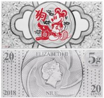 2018 Niue Disney Lunar Year of the Dog Foil Note 5 g Silver 20c GEM BU OGP