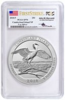 2018-P Cumberland Island 5 oz. Silver America the Beautiful Specimen Coin PCGS SP70 FS Exclusive Mercanti Signed Flag Label