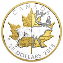 2018 Canada Timeless Icons - Caribou Piedfort 1 oz Silver Gilt Proof $25 Coin GEM Proof OGP