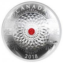 2018 Canada Classic Holiday Ornament - With Swarovski Crystal Concave 1 oz Silver Proof $25 Coin GEM Proof OGP
