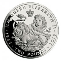 2018 British Indian Ocean Territory Sapphire Coronation - Lion & Unicorn Silver Proof £2 Coin GEM Proof