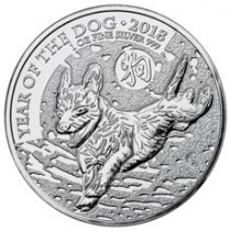 2018 Great Britain Year of the Dog 1 oz Silver Lunar £2 Coin GEM BU