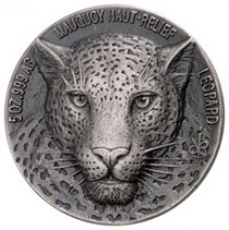 2018 Ivory Coast Mauquoy Haute Big Five - Leopard High Relief 5 oz Silver Antiqued Fr.5,000 Coin GEM BU
