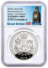 2018 Great Britain Four Generations of Royalty Silver Proof £5 Coin NGC PF70 ER