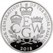 2018 Great Britain Four Generations of Royalty Silver Proof £5 Coin GEM Proof