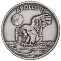 1969-2019 Apollo 11 50th Anniversary Robbins Medals 1 oz Silver-Plated Antiqued Medal GEM BU