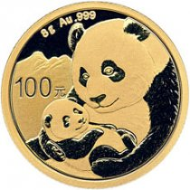 2019 China 8 g Gold Panda ¥100 Coin GEM BU