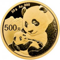 2019 China 30 g Gold Panda ¥500 Coin GEM BU