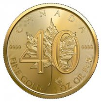 2019 Canada 1 oz Gold Maple Leaf - 40th Anniversary 50 Coin GEM BU