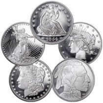 USA Type Grab Bag of 5 Different Design 1 oz Silver Rounds