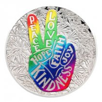 2019 Benin Peace & Love 1 oz Silver Colorized Proof Fr1,000 Coin GEM Proof