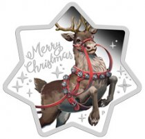 2019-P Australia Merry Christmas - Reindeer Star Shaped 1 oz Silver $1 Coin GEM Proof OGP