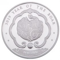 2019 Kingdom of Bhutan 1 oz Silver Lunar - Year of the Boar Proof 200 Coin GEM Proof